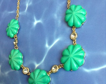 Mint green SHELL Crystal CHUNKY  gypsy boho style clear Necklace  gold tone chain acrylic beads