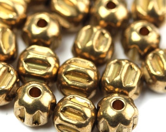 Metal Beads Round Ribbed Melon Raw Brass 6mm (8) M037