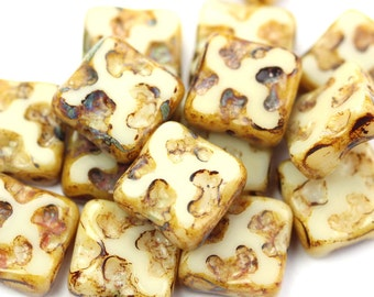 Czech Glass Beads Square Spongy Textured Beige Picasso 10mm (10) CZP906