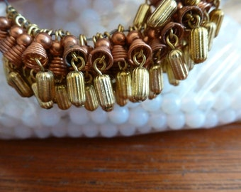10 Vintage Copper and Brass Japan Tassels Dangles Drops C2