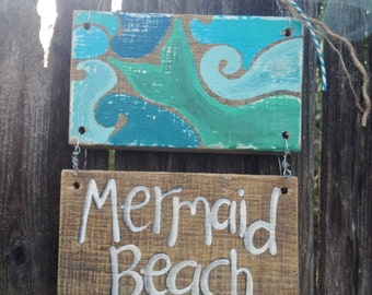 NEW Design Mermaid Beach Surf Surfer Summer Vintage inspired Sign Blue Aqua Wood Shells RUSTIC and Primitive Beach Surfer Girl Reclaimed