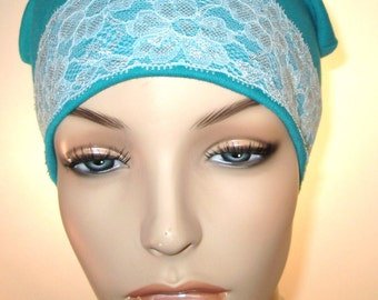 Teal Sleep Cap with Turquoise Lace Trim, Cancer Hat, Hair Loss, Lounge Cap, Chemo Hat