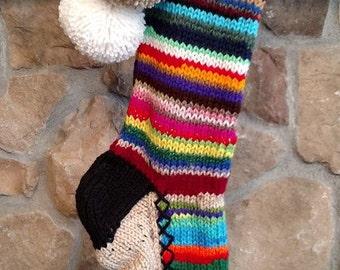 Old Fashioned Hand Knit Christmas Stocking Rag Series Fir Tree Stripes