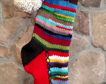 Old Fashioned Hand Knit Christmas Stocking Red Gusset Fir Tree Rainbow Rag Stripes