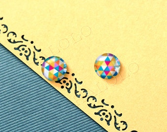 Sale - 10pcs handmade triangle clear glass dome cabochons 12mm (12-9748)