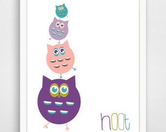 Children's Wall Art / Nursery Decor Purple Owl Stank Hoot 8x10 inch print by Finny and Zook