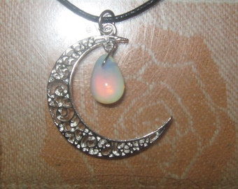 Silver Crescent Moon Opalite Sea opal Pendant Necklace
