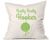 Knotty Hooker Crochet Pillow, Gifts for Knitters, Knitting Gifts, Accent Pillow, Throw Pillow Cover, Decorative Throw Pillow, Gifts for Mom