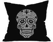 Sugar Skull Pillow, Accent Pillow, Sugar Skull Decal, Sugar Skull Decor, Day Of The Dead Skull, Throw Pillow, Sugar Skull Bedding