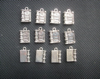8 Book Charms True Story  Silver Tone Metal 18mm