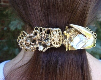 OOAK Collage Barrette Celestial Hair Clip boho chic Accessory Gold tone Crystal Hair jewels mod Pony holder metal Bohemian gift for her