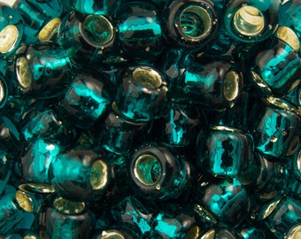 """Silver Lined Teal Toho Seed Bead 6/0 2.5"""" Tube TR-06-27BD/C"""