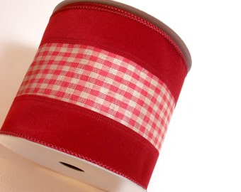 Red Ribbon, Offray Holden Wired Fabric Ribbon 4 inches wide x 10 yards, Full Bolt, Brick Red Plaid Ribbon
