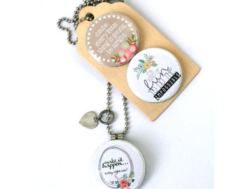 Inspiration Necklace, Do The Impossible, 3 Necklaces in 1, Make it Happen Locket, Jewelry for Her, Inspirational Gift, Custom Initial