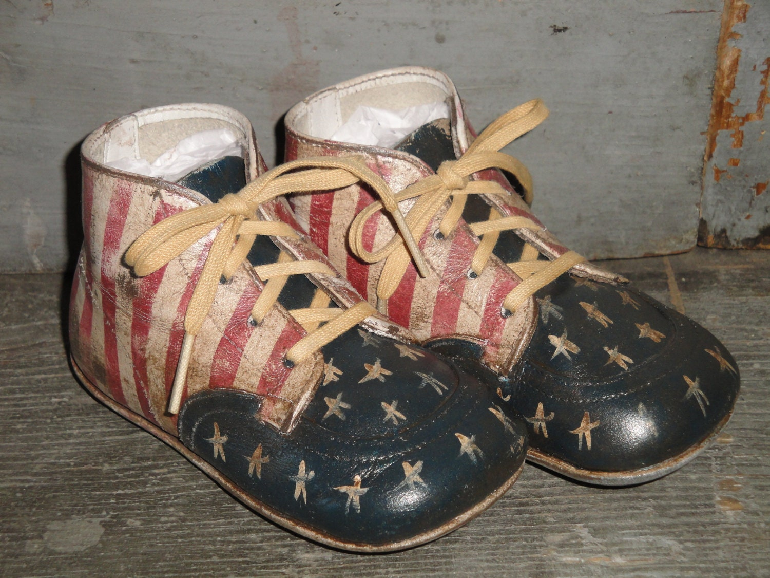 Hand Painted Americana Hard Sole Baby Shoes
