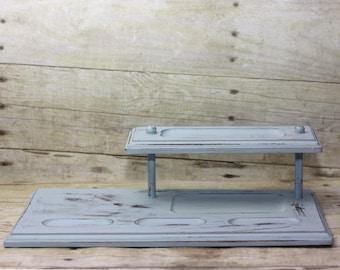 Light Blue Distressed Rustic Valet Desk or Dresser Organizer for Men or Women