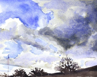 Spring Sky Watercolor Landscape Painting - by Michelle Arnold Paine
