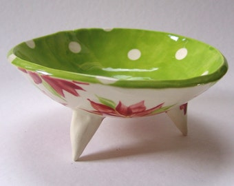Poinsettia pottery Serving Bowl Lime green w/ white polka-dots and hand-painted floral print
