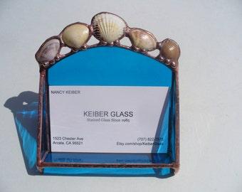 Seashell Cardholder, Stained Glass Cardholder, Business Cardholder - Aquamarine