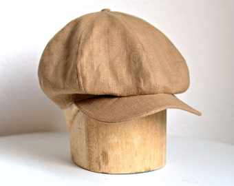 Newsboy Hat in Toast Linen - Men's  Newsboy Cap - Linen Newsboy Cap