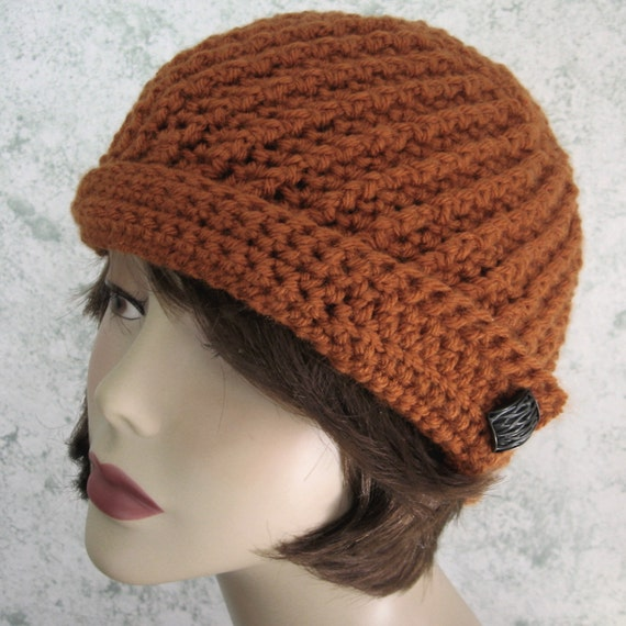 Crochet Hat Pattern Spiral Rib : Womens Crochet Hat Spiral Rib With Angled Brim by ...