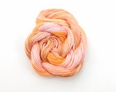 Hand dyed cotton perle 5 embroidery thread, 20 metre (22 yard) skein - pale pink, light orange, coral, peach, light brown, salmon pink