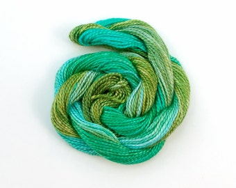 Hand dyed cotton perle 5 embroidery thread - emerald, bright olive green, jade, light blue, mercerised cotton yarn, 20 metre (22 yard) skein