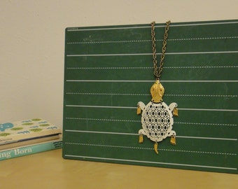 Vintage Metal Articulated Turtle Necklace - White and Brass