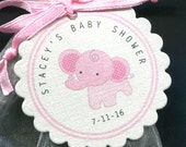 40 Personalized Baby Shower Favor Tags - Baby Shower Tag - Baby Girl - Favor Tags - Elephant Baby Shower - Jungle - Pink - Gift Tags