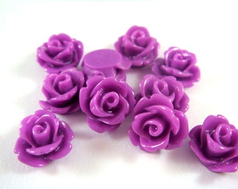 BOGO 10 Orchid Rose Flower Cabochon Resin Bead 10mm - No Holes - 10 pc - CA2006-OD10-AG - Buy 1 pk, Get 1 Free - No coupon required