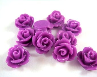 10 Orchid Rose Flower Cabochon Resin Bead 10mm - No Holes - 10 pc - CA2006-OD10 - Select Qty