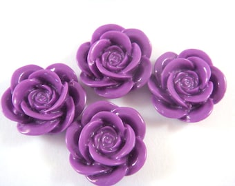 SALE - 8 Orchid Resin Cabochon Beads Rose Flower 18mm Flat Back - No Holes - 8 pc - CA2007-OD8