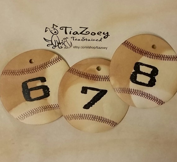 BASEBALL theme TABLE NUMBERS 2 inch round choose your quantity