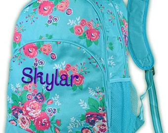 Personalized Backpack Floral Monogrammed School Girls Bookbag