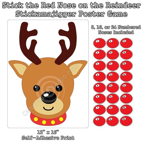 Stick the Nose on Rudolph Game - Restickable Christmas Holiday Poster