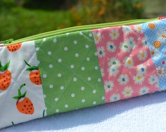 Cute Pencil Case Pencil Bag Pencil Pouch Cute Zipper Pouch Quilted Pencil Case Patchwork Zipper Pouch Makeup Bag Travel Sewing Pouch