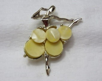 Vintage Ballerina Brooch with Yellow Mother of Pearl