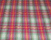 SALE vintage 80s crinkle cotton fabric featuring great plaid patchwork print with metallic silver thread, 1 yard, 34 inches EXTRA WIDE