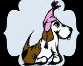 Metal Holiday Ornament - Basset In A Hat