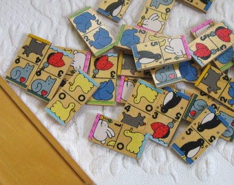 Wood Domino Game . Number and Picture Domino Game . Children Domino Game . Animal Domino Game . German Domino Game