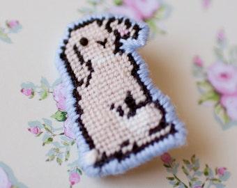 Tapestry Bunny Brooch