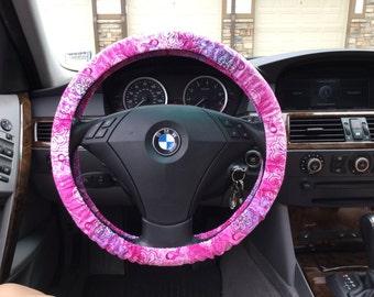 Breast Cancer Bandana Steering Wheel Cover