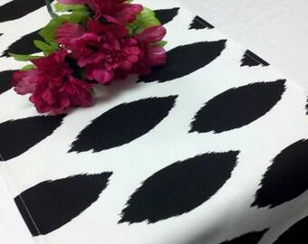 TABLE RUNNER Black on white Ikat look table runner wedding bridal home decor