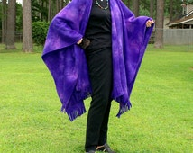 Purple Blender Fleece Shawl, Poncho, Wrap or  Blanket Scarf with Fringe---One Size Fits Most