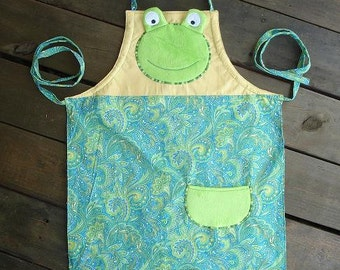 Childs Kids Frog Apron, Multisized, Adjustable Strap, Ready to ship