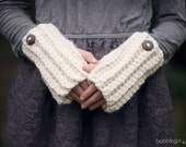 Cream Fingerless Gloves, Gloves, Arm Warmers