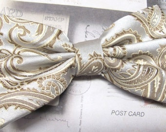 Mens Bowties. Brown Taupe Paisley Bow tie With Matching Pocket Square Option