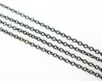 Oxidized Sterling Silver Chain,Bulk Beading Chain-Tiny Plain Cable,Fine Chain 1mm (Up to 30% off ) Jewelry Supplies Wholesale-SKU:101009-OX