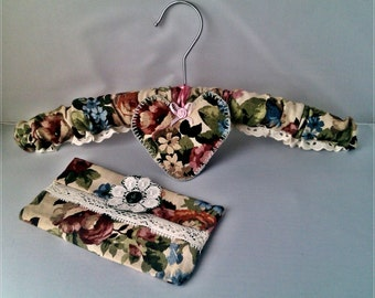 Padded Coat-hanger made from Sanderson Linen Fabric  with a Lavender Heart and Pocket Tissue Case, a useful Handmade Gift Set