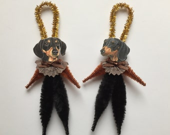 Black&Tan DACHSHUND ornaments dog ORNAMENTS doxie ornaments vintage style chenille ornaments set of 2